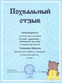 Тимкина Ирина, 6 класс