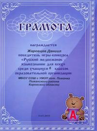 """""""Русский медвежонок - языкознание для всех"""" (2017), Жаровцев Даниил, 6 класс"""