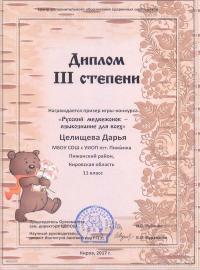 """""""Русский медвежонок - языкознание для всех"""" (2017), Целищева Дарья, 11 класс"""
