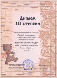 """""""Русский медвежонок - языкознание для всех"""" (2017), Брыгина Александра, 11 класс"""
