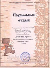 """""""Русский медвежонок - языкознание для всех"""" (2017), Агапитов Артем, 11 класс"""